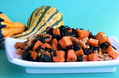 Roasted Sweet Potatoes and Kale with Pecans and Cranberries